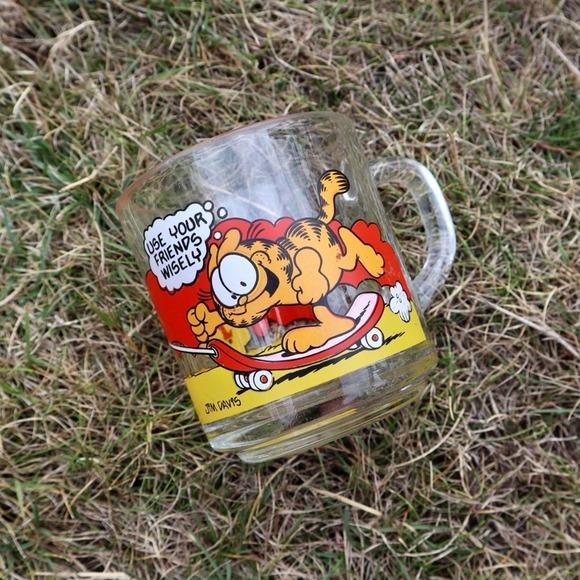 Vintage 70s Garfield Odie McDonald's Glass Mug